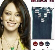 Hot Sale Clip In Human Hair Extensions 16 Inch Blue 7pcs On Sale by tiffanywuok1