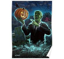 Halloween Ghoul rising from Grave with pumpkin Poster