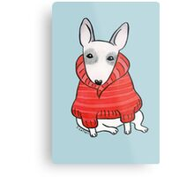 English Bull Terrier Wearing Red Chunky Knit Metal Print