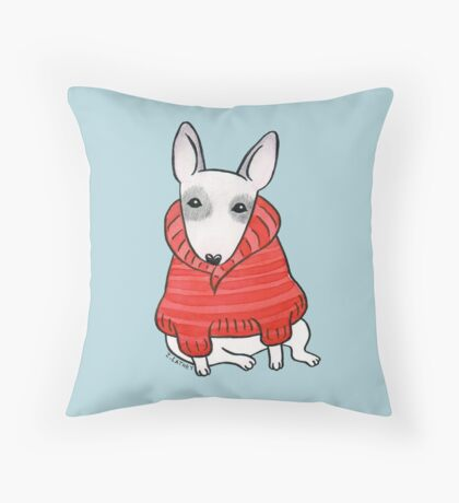 English Bull Terrier Wearing Red Chunky Knit Throw Pillow