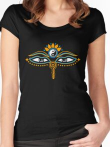 Buddha eyes, Yin Yang, symbol wisdom & enlightenment, Women's Fitted Scoop T-Shirt