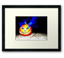 Smoke Bomb Pumpkin - Blue Framed Print