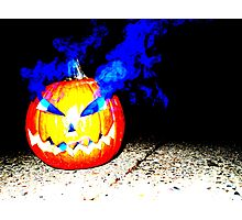Smoke Bomb Pumpkin - Blue Photographic Print