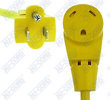 RV Dogbone Adapter, 15 Amp Male to 30 Amp Female, 1' FT, Yellow, NUCORD 15M30F by lwwscom