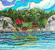 Drawing of Swedish archipelago landscape in marker pen by CClaesonDesign