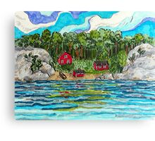 Drawing of Swedish archipelago landscape in marker pen Canvas Print