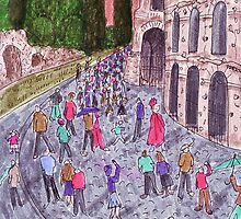 Colorful drawing of Colosseum in Rome by CClaesonDesign