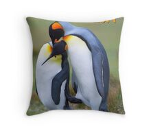 Two penguins in love Throw Pillow