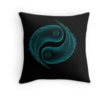 Yin Yang Water Splash Symbol Throw Pillow