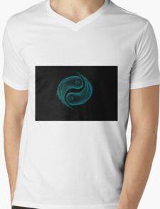 Yin Yang Water Splash Symbol Mens V-Neck T-Shirt