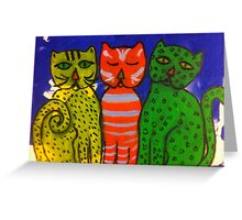 Three Kitties by Terri Holland Greeting Card