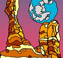 Balanced Rock and Full Moon Illustration  by strayfoto