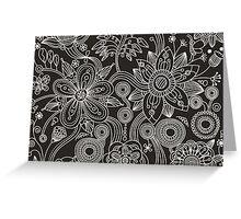 Oriental Persian Paisley, Dots - Black White Greeting Card