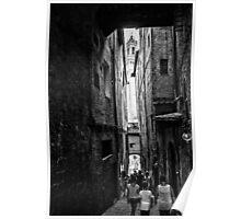 Shady passage Siena bw Poster