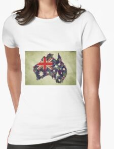 Australian Flag Map Fruits And Vegetables Womens Fitted T-Shirt