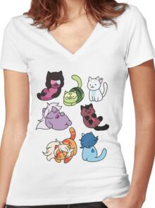 Gem Atsume Women's Fitted V-Neck T-Shirt