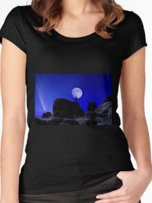 Moonrise Over White Tank Campground. Women's Fitted Scoop T-Shirt