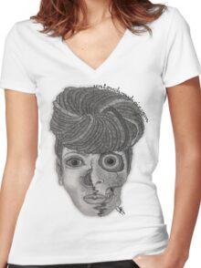 Natural Til The Deafame Women's Fitted V-Neck T-Shirt