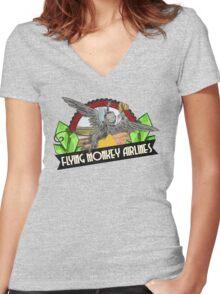 Wizard of Oz Inspired - Flying Monkey Airlines - Flying Monkeys - Airline Parody Design - OZ  Women's Fitted V-Neck T-Shirt