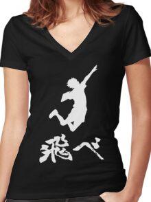 Haikyuu Hinata Tobe(FLY) WHITE Women's Fitted V-Neck T-Shirt