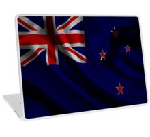Waving Flag of New Zealand on aged canvas Laptop Skin