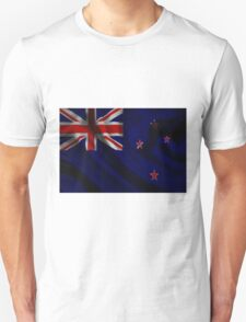 Waving Flag of New Zealand on aged canvas T-Shirt