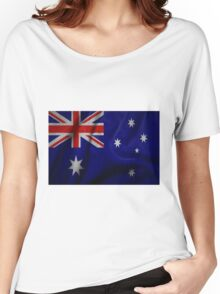 Waving Australian flag on aged canvas Women's Relaxed Fit T-Shirt