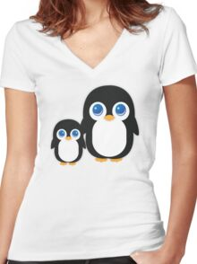 Penguin T Shirt Women's Fitted V-Neck T-Shirt