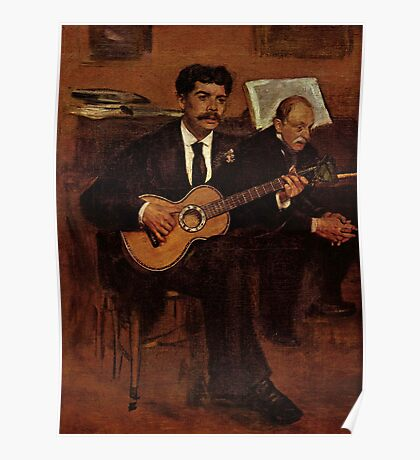 Edgar Degas French Impressionism Oil Painting Playing Guitar Poster