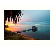 Ahh... The Serenity... Crawley Boat Shed at Sunrise Art Print