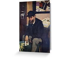 Edgar Degas French Impressionism Oil Painting Man Sitting Greeting Card