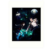 Amy and The Doctor in Space Art Print