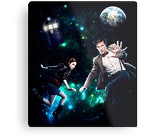 Amy and The Doctor in Space Metal Print