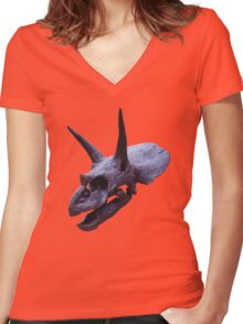 Ceratopsian Women's Fitted V-Neck T-Shirt