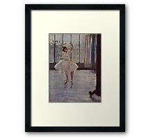 Edgar Degas French Impressionism Oil Painting Ballerina Practicing Framed Print