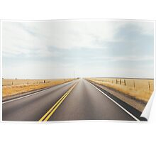 Empty Road in Dry Grassland Poster