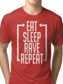 EAT SLEEP RAVE REPEAT (Centre Aligned) Tri-blend T-Shirt