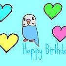Budgie Birthday by parakeetart