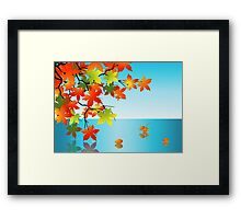Autumn leaf reflection in water Framed Print