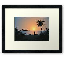 Tropical beach blue sunset Framed Print