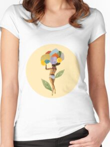 i walk out in the flowers and feel better Women's Fitted Scoop T-Shirt