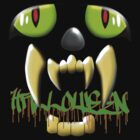 Scary Teeth and Eyes Halloween T-shirt by Dennis Melling