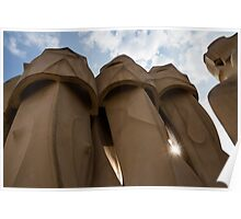 Whimsical Chimneys - Antoni Gaudi, La Pedrera, Barcelona, Spain Poster