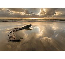 Sunset reflections on Torvaianica beach Photographic Print