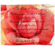 The Breeze at Dawn - Rose - Rumi Quote - Don't Go Back to Sleep Poster