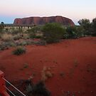 Uluru - at sunrise (Kata Tjuta to the left in the distance) by gaylene