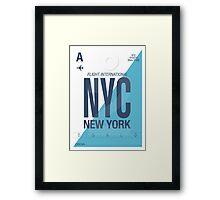 NYC Baggage Tag Framed Print