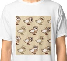 Series of owls with crayons on craft paper Classic T-Shirt