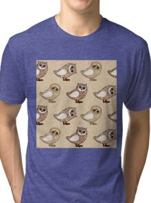 Series of owls with crayons on craft paper Tri-blend T-Shirt