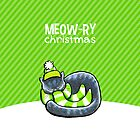 Gray Cat Striped Scarf Meow-ry Christmas by offleashart